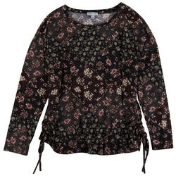 Floral & Ivy Womens Floral Side Rouching 3/4 Sleeve Top
