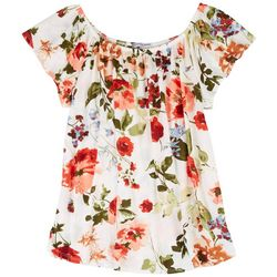 Cha Cha Vente Womens Floral Print Peasent Short Sleeve Top
