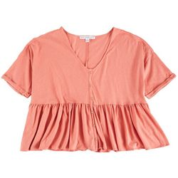 HYFVE Womens Solid Babydoll Top With Buttons