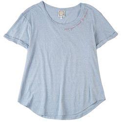 Tru Self Womens Solid Quote Neckline Short Sleeve Top