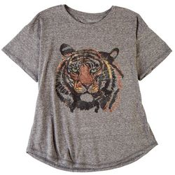 Chelsea & Theodore Womens Tiger Short Sleeve Top