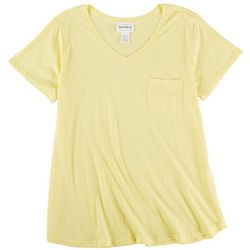 For The Republic Womens Solid V-Neck Short Sleeve Top