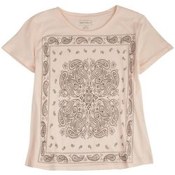 For The Republic Womens Paisley Front Screen Print Top