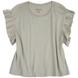 For The Republic Womens Scrunched Sleeves Solid Top
