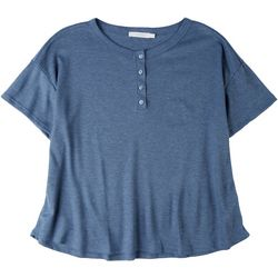 Lush Womens Solid Waffle Knit Top With Bottoms