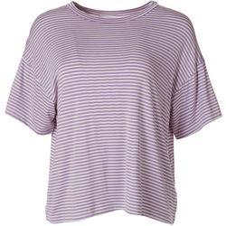 Lush Womens Striped Short Sleeve Top