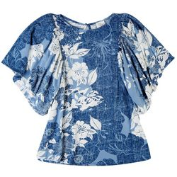 Ava James Womens Floral Tropical Printed  Top