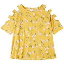 Ava James Womens Ribbed Cold Shoulder Floral Short Sleeve