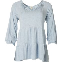 Ava James Womens Solid Double Tiered Tunic Top