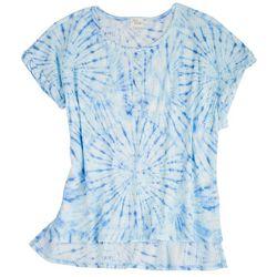 Ava James Womens Textured Tie-Dye Short Sleeve Top