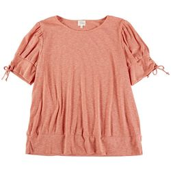 Ava James Womens Solid Short Sleeve Top With Sleeve Detail