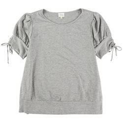 Ava James Womens Short Sleeve Solid Top