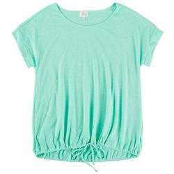 Ava James Womens Solid Short Sleeve Top With Tie On Waist