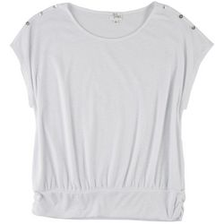Ava James Womens Solid Top With Buttons On Shoulder