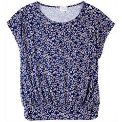 Ava James Womens Floral Print Short Sleeve