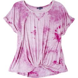 Democracy Womens Tie Dye Short Sleeve Top With Knot Detail
