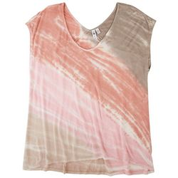 Cable & Gauge Womens Tie Dye Round Neck Top
