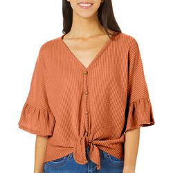 Thyme & Honey Womens Button Down Tie Front Top