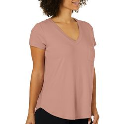 Femme Womens Solid V-Neck Pocket T-Shirt