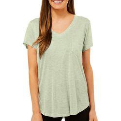 Femme Womens Solid Heathered V-Neck Pocket T-Shirt