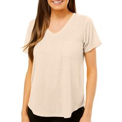 Femme Womens Heathered V-Neck Short Sleeve T-Shirt