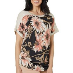 VS Collection Womens Floral Ruched Side Short Sleeve Top