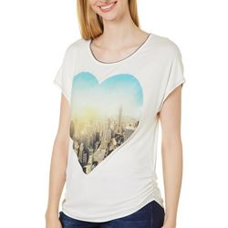 VS Collection Womens City Love Screen Print Round Neck Top