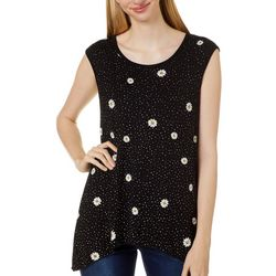 VS Collection Womens Daisy Polka Dot Sharkbite Hem Top