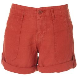 Sanctuary Womens Solid Linen Cuffed Shorts