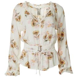 American Rag Womens Floral Corset V-Neck Top