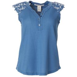 Womens Solid Waffle Lace Sleeveless Top