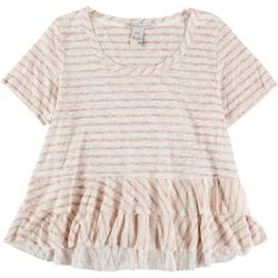 American Rag Womens Stripe Tiered Short Sleeve Shirt