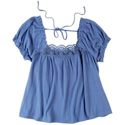 American Rag Womens Short Sleeve Top With Lace