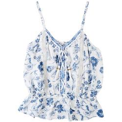 Womens Printed Lace Up Top