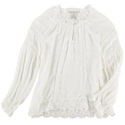 Womens Lacey Peasant Long Sleeve Shirt