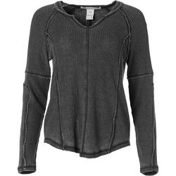 American Rag Womens Solid Waffle Knit Thermal Pullover