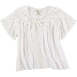 American Rag Womens Solid Lace Detail Blouse