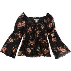 Womens Floral Smocked Long Sleeve Top