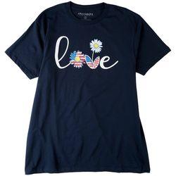 Ana Cabana Womens Love Daisy and American Flag Short Sleeve