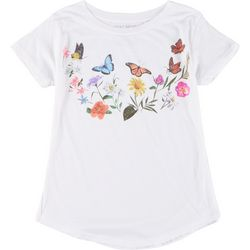 Ana Cabana Womens Butterfly & Floral Round Neck T-Shirt