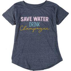 Ana Cabana Womens Save Water Drink Champagne T-Shirt