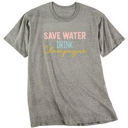 Ana Cabana Womens Save Water Drink Champagne Tee