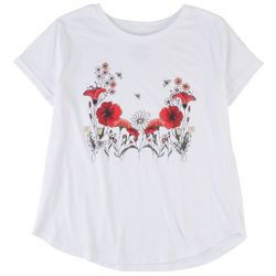 Ana Cabana Womens Floral Print Short Sleeve T-Shirt