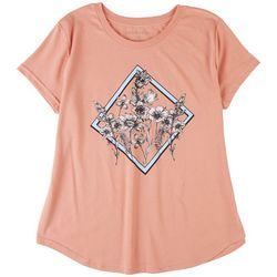 Ana Cabana Womens Flower Print T-Shirt