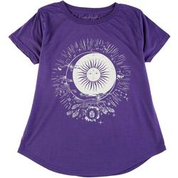 Womens Sun & Moon Round Neck T-Shirt
