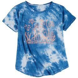Ana Cabana Womens Neon Flowers & Tie-Dye Pattern T-Shirt