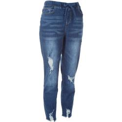 Royalty Womens Pull On  Distressed Denim Jogger