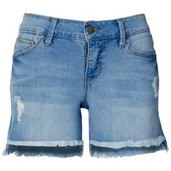 Royalty by YMI Womens Fringe Cuff Hi-Low Denim Shorts