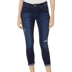 Womens Distressed Roll Cuff Jeans