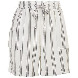 Per Se Womens Roll Cuffed Striped Shorts With Pockets